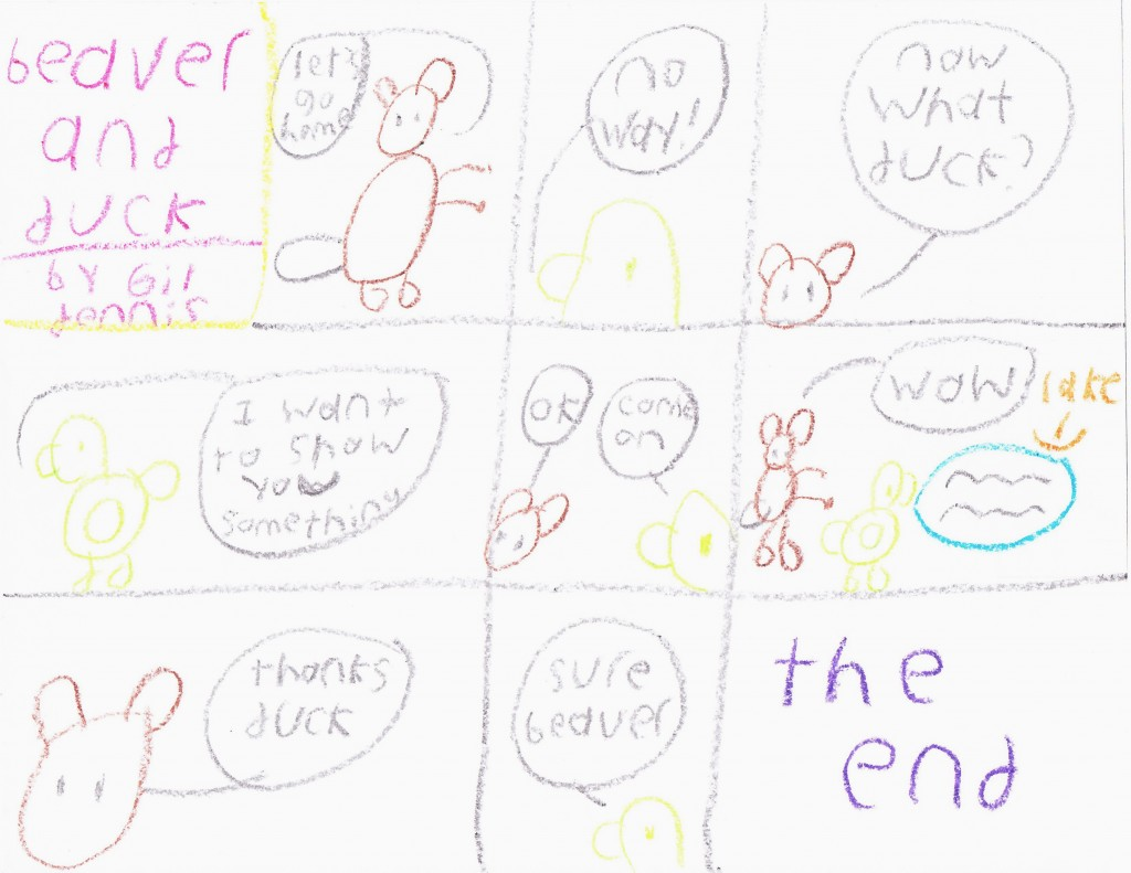 The very first strip of Beaver and Duck by Gil. The first one is in color but all his other Beaver and Duck strips are in pen.